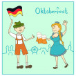 Man and girl  with  beer and  the flag of Germany — Stock Vector