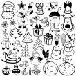 Christmas icon set, black and white element — Stock vektor
