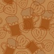 Seamless pattern with beer  and pretzels — Imagen vectorial