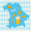 Map of Bavaria with oktoberfest symbols — Stock Vector
