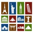 World landmarks, icons set — Stock Vector