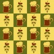Beer mugs and hop seamless pattern — Stock Vector