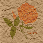 Vector red rose, creased paper — Vecteur