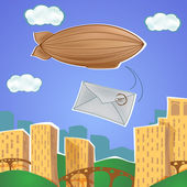 Urban landscape with blimp and letter — Stockvector