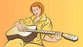Fille avec une guitare — Vecteur