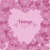 Heart form, vintage flower frame — Stock Vector