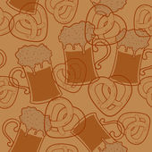 Seamless pattern with beer and pretzels — Stock Vector
