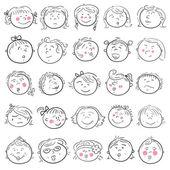 Cartoon face of girl set — Stock Vector