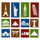World landmarks, icons set — Vecteur