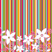Decorative flowers, striped background — Stock Vector