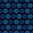 Blue flowers, dark background,  seamless pattern — Stock Vector