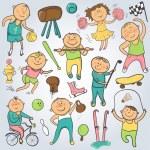 Vector cartoon sport players, doodle character — Stock Vector