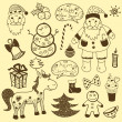 Vintage christmas  set, old paper — Stock Vector