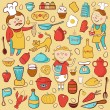 Kitchen vector set, cartoon colorful elements — Imagen vectorial