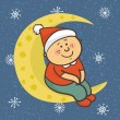 Baby is sitting on  moon in  Christmas cap — Stock Vector