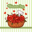 Basket with red roses, flowers Valentines day — Imagen vectorial