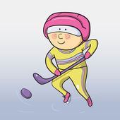 Vektor tecknad ishockeyspelare — Stockvektor