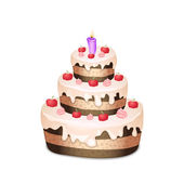 Cake with chocolate and cream, burning candle — Stock Vector