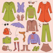 Vector set, retro woman clothes — Vettoriale Stock