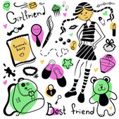A set of things girl, drawing pen — Wektor stockowy