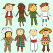 Постер, плакат: Cartoon kids in different traditional costumes