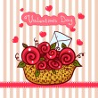 Stock Vector: Basket with red roses, flowers Valentines day
