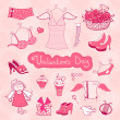 Set of female things for Valentine's Day — Stock Vector