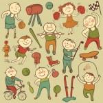 Vector cartoon cute sport players — Stock Vector #38598703