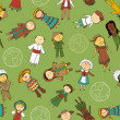 Kids in traditional costumes — Vector de stock