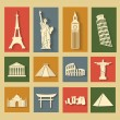 World landmarks, flat icons set — Stock Vector #38599377