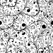 Black-white floral seamless pattern — Stock Vector