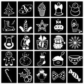 Christmas black-white icon set — Stock Vector