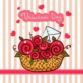 Basket with red roses, flowers Valentines day — Stock Vector