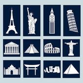 World landmarks, icons set — Stock Vector