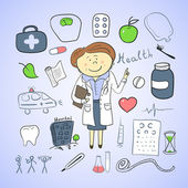 Health icons, woman doctor — Wektor stockowy