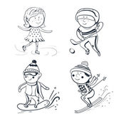 Winter sports, vector sketch sportsmen — Stock Vector