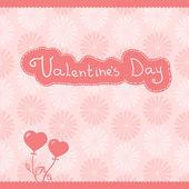 Vector hart bloemen, roze achtergrond — Stockvector