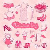 Reeks vrouwelijke dingen voor Valentijnsdag — Stockvector
