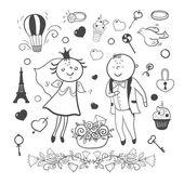 Romantic wedding collection — Vetor de Stock