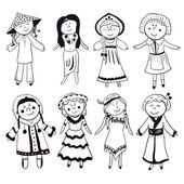 Women in different traditional costumes — Stock Vector
