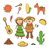 Mexican icon vector set — Stock Vector