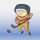 Vector cartoon hockey player — Stock Vector
