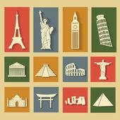 World landmarks, flat icons set — Stock Vector
