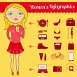 Modern woman's vector infographic set — Stock Vector #43948189