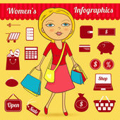 Women's vector infographic set — Stock vektor