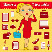 Business woman vector infographic set — Vector de stock