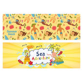 Summer holidays banners set,  templates for ilustration holiday on sea beach — Stock Vector