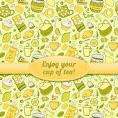 Tea and sweets seamless pattern with label — Stock Vector