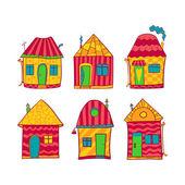 カラフルな家漫画のスタイルを設定します。 — ストックベクタ