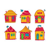 Set colorful houses in cartoon style — 图库矢量图片